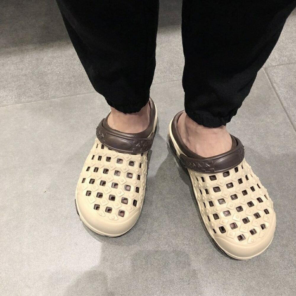 洞洞鞋女 2020新款涼鞋洞洞鞋女夏大碼沙灘鞋情侶厚底防滑平底海邊拖鞋【全館82折】
