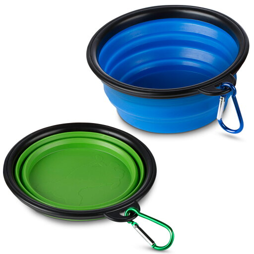 Collapsible Pet Bowl with Carabiners - JuzPetz - Pack of 2 - Blue and Green 7bc672b7caa52f4332f701e7c9c9d6ce