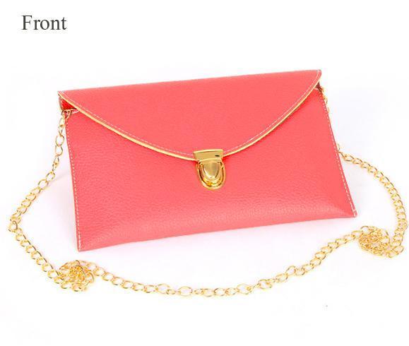Women Synthetic Leather Golden Chain Envelope Purse Clutch Handbag 1