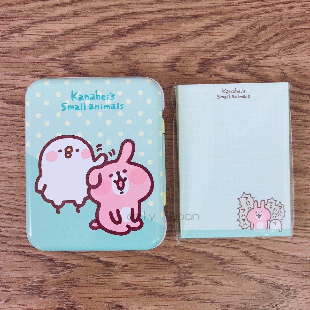 【真愛日本】18030600011 鐵盒便條紙-兔兔摸頭綠 卡娜赫拉的小動物們 兔兔P助小雞 日用品 便條紙 小物收納 紙製品 文具