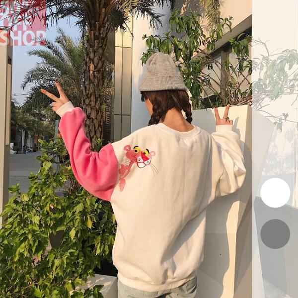 50 OFF SHOP:50%OFFSHOP韓版刺繡卡通寬鬆百搭長袖加絨衛衣(2色)【G032868C】