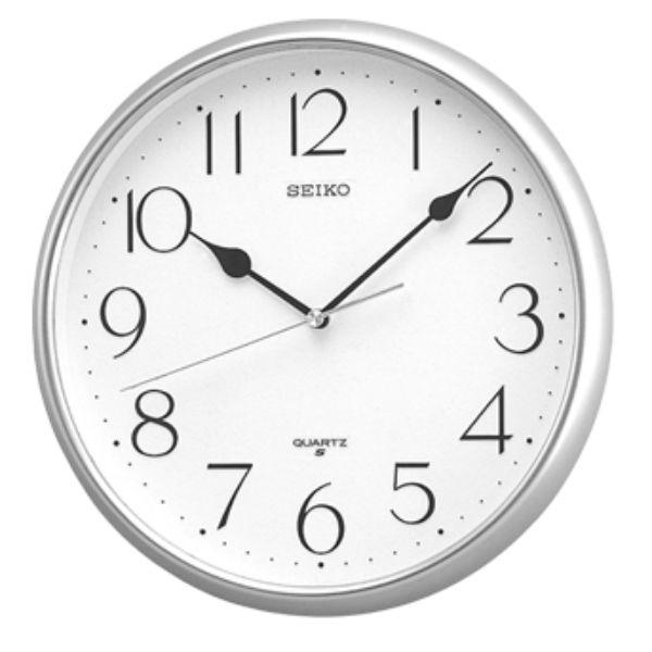 Seiko 精工鐘 (QXA001S) 銀色外框清新數字標準鐘/28*3.9cm
