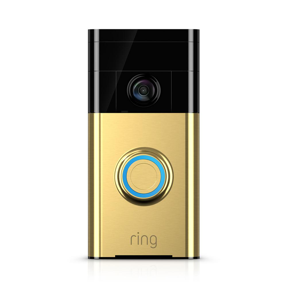 Ring Wi-Fi Enabled Video Doorbell Motion Activated Camera Polished Brass
