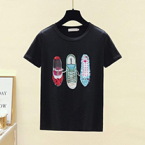 *ORead*韓版圓領印花釘珠亮片小鞋短袖T恤(2色S~XL) 0