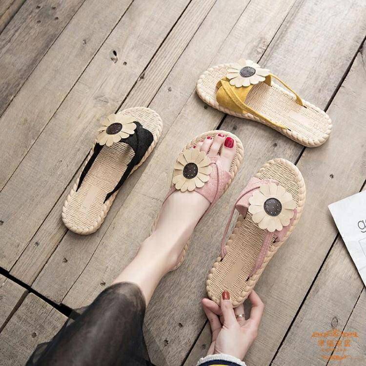 人字拖 鞋女外穿2021新款夏季百搭韓版半平底防滑花朵夾趾網紅涼拖