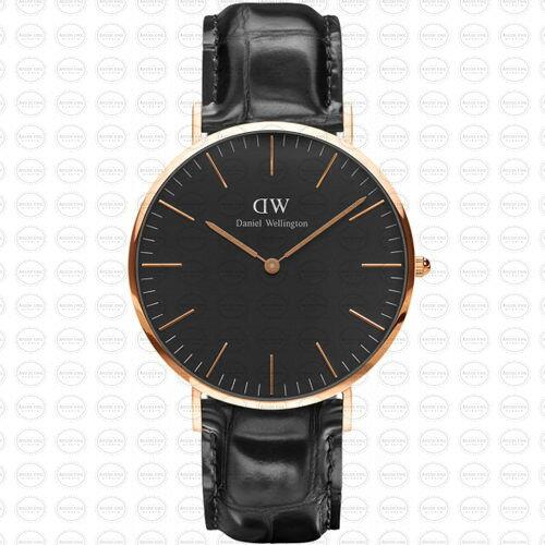 40MM 0129DW 黑錶面 玫瑰金邊 真皮黑錶帶 瑞典正品代購 Daniel Wellington 男錶手錶腕錶 0
