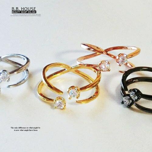 戒指-正韓簡約設計款-雙鑽造型戒(可調戒圍) .寶貝窩 .【ACC2001】(預購)