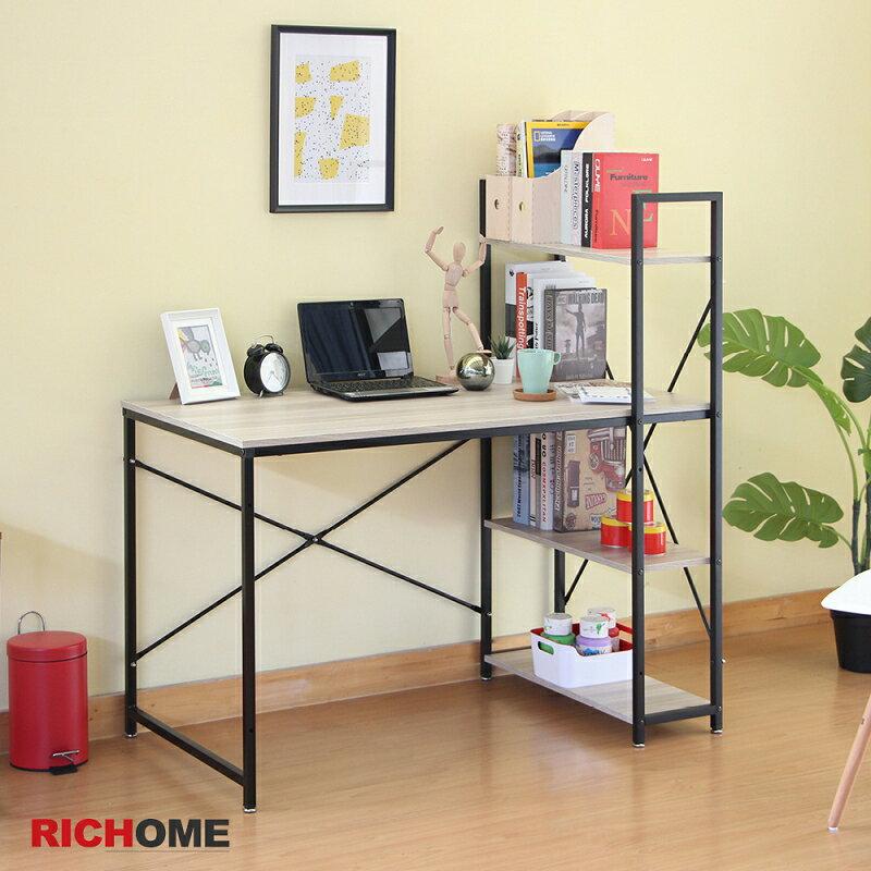 書桌/電腦桌 鋼鐵人書架工作桌 【DE260】 RICHOME