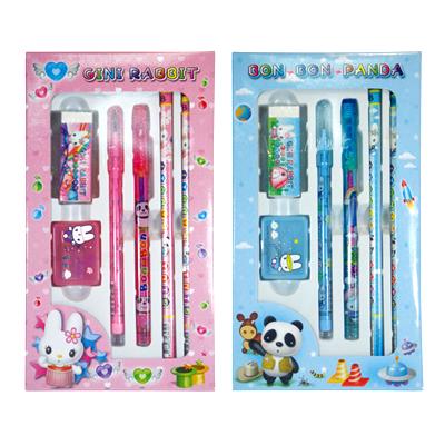 ★兒童節禮物★六件式文具禮盒(鉛筆2支+免削鉛筆1支+彩虹筆1支+橡皮擦1個+削筆器1個)