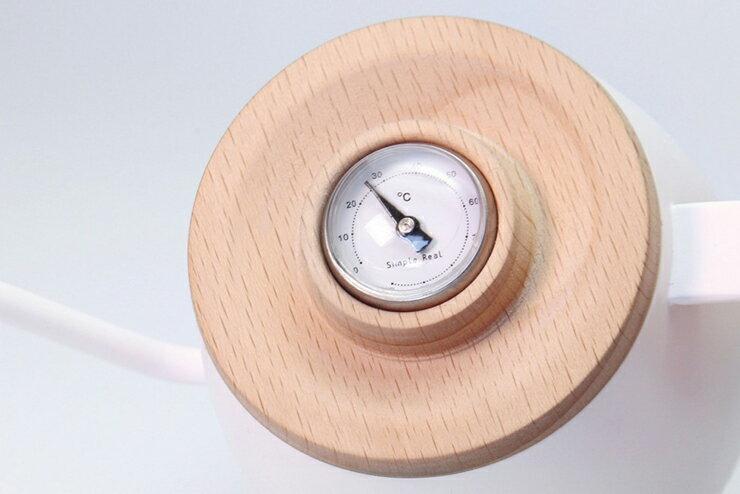 TAMAGO 單人咖啡手沖壺.內建溫度計、木質握把與底座 350ml