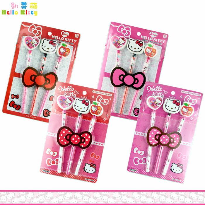 大田倉 韓國  hello kitty凱蒂貓 3入鉛筆組 橡皮擦鉛筆組 6角鉛筆組文具用品
