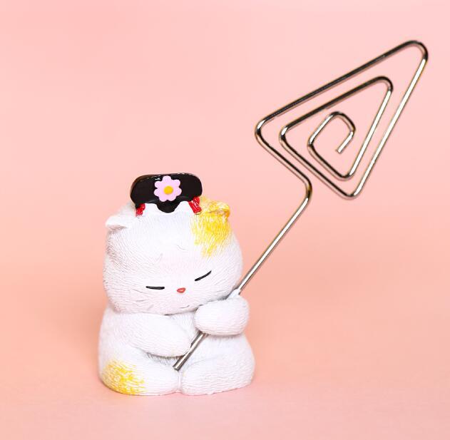 貓咪桌面迷你擺件便簽夾文創生日禮物女情人節女生禮物兒童送禮