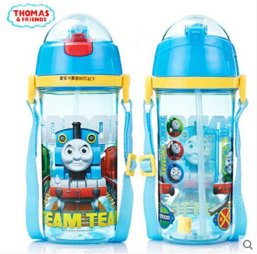 正版THOMAS湯瑪士小火車兒童吸管水杯防漏背帶600ml水壺ST7062