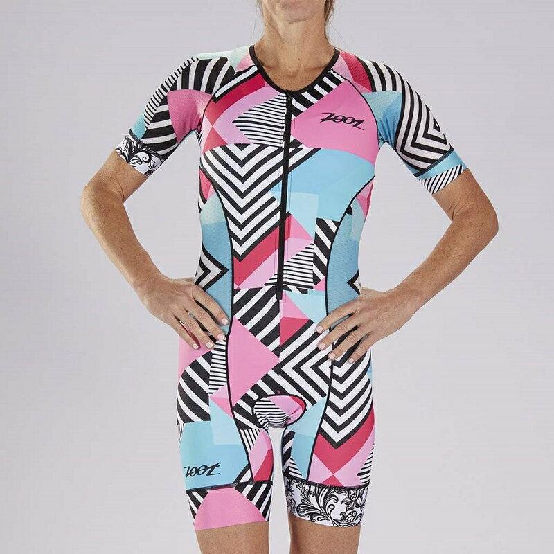 【7號公園自行車】ZOOT 19S CALI TRI AERO 女性前開襟有袖連身三鐵衣(藍/天藍/白/粉紅)