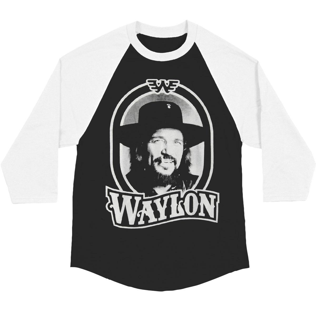 Rockabilia Waylon Jennings Mens Tour 79 Black Raglan Baseball