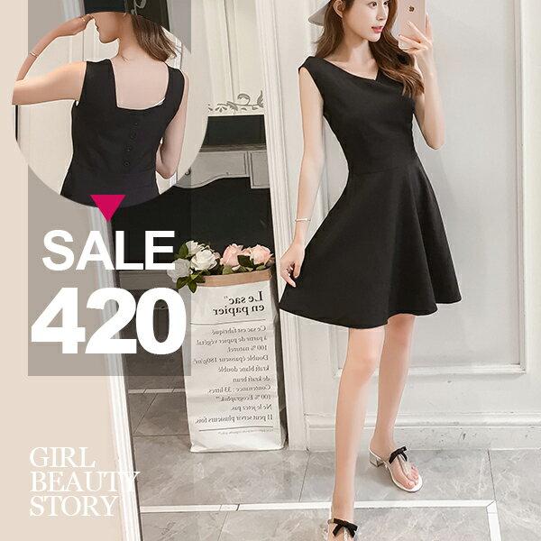 SISI【D8118】現貨無袖V領背假排扣收腰修身顯瘦傘狀大裙襬連身裙洋裝