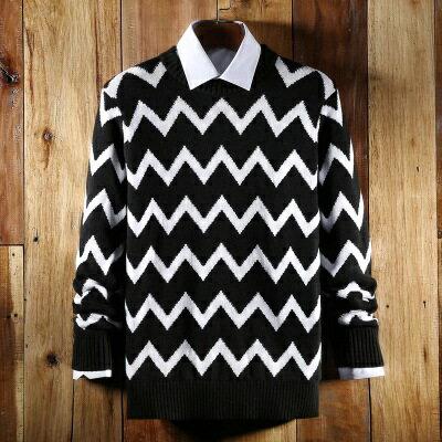 針織毛衣長袖針織衫-獨特黑白波浪設計男上衣73ik34【獨家進口】【米蘭精品】