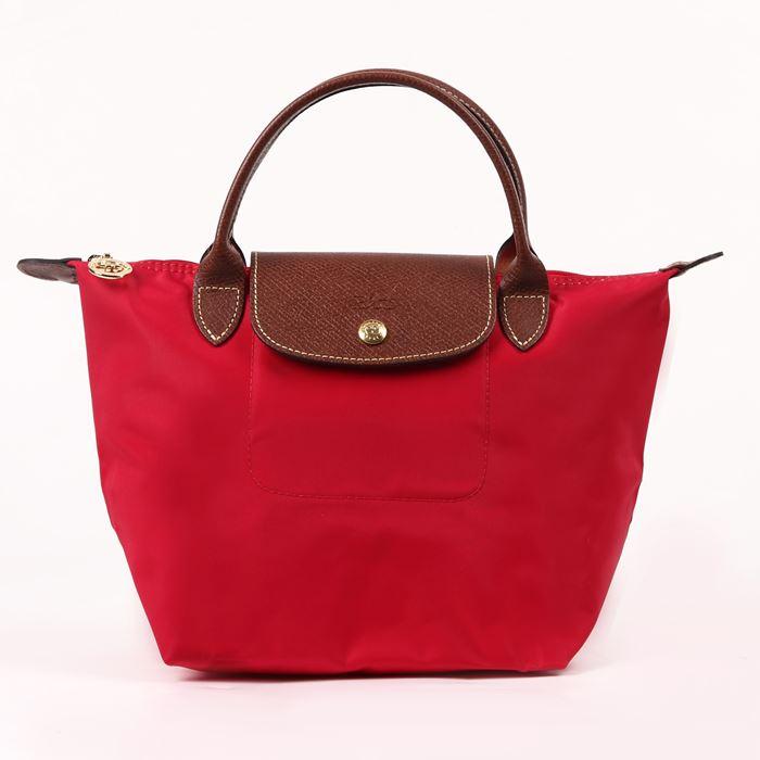 [短柄S號]國外Outlet代購正品 法國巴黎 Longchamp [1621-S號] 短柄 購物袋防水尼龍手提肩背水餃包 桃紅色 0