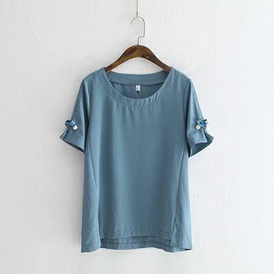 短袖T恤雪紡上衣-時尚甜美珍珠蝴蝶結女打底衫3色73sy36【獨家進口】【米蘭精品】