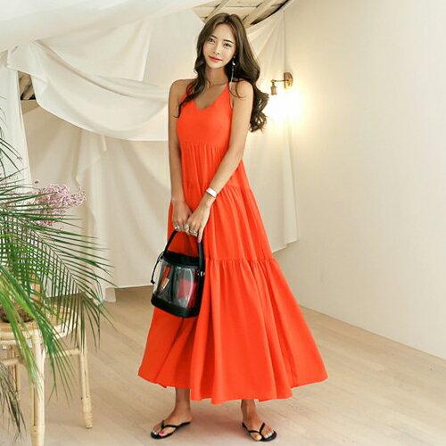 PS Mall 熱情傘擺露背連身裙 細帶拼接長版洋裝【T540】 0