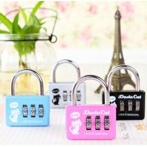 美麗大街【BF103E2E1E863】創意旅行箱包密碼鎖小貓鋁合金三位密碼掛鎖