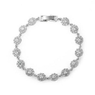 ~純銀手鍊 鍍白金鑲鑽手環~ 氣質優雅花朵生日情人節 女飾品73cv51~ ~~米蘭 ~
