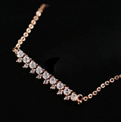 ~玫瑰金項鍊 鑲鑽純銀吊墜~精緻 優雅氣質生日情人節 女飾品73dw68~ ~~米蘭 ~