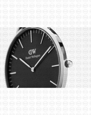 40MM 0132DW 黑錶面 真皮駝色錶帶 瑞典正品代購 Daniel Wellington 男錶手錶腕錶 1