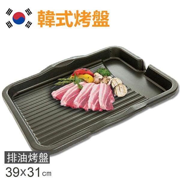 快樂老爹:【韓國DUKHUNG】新款長型不沾烤盤韓國滴油烤盤DH28(長型39X31cm)