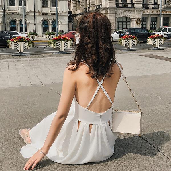 PS Mall 鏤空露背巴厘島度假沙灘吊帶V領長裙 連身裙 洋裝【T371】 1