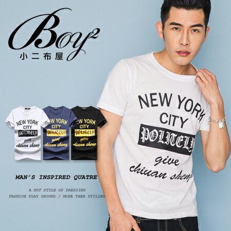 ☆BOY-2☆【OE10607】韓版休閒文字NEW YORK CITY型男短袖T恤 0