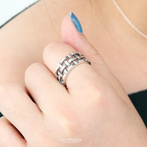 銀飾戒指十字編織活動戒純銀戒指個性街頭【NPC70】柒彩年代