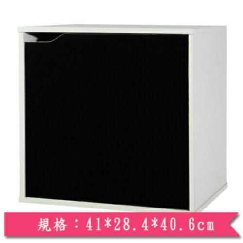 魔術方塊單門收納櫃-黑【愛買】