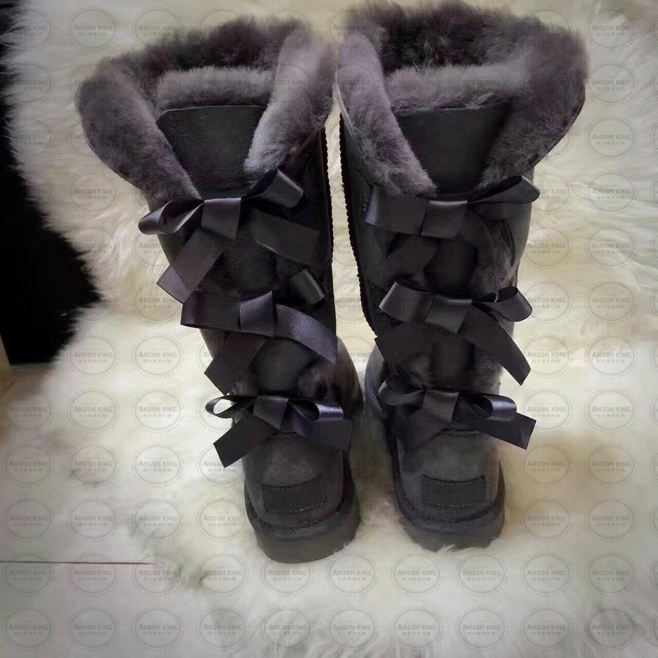 OUTLET正品代購 澳洲 UGG 一體女式絲帶蝴蝶結 保暖 真皮羊皮毛 雪靴 短靴 灰色 3