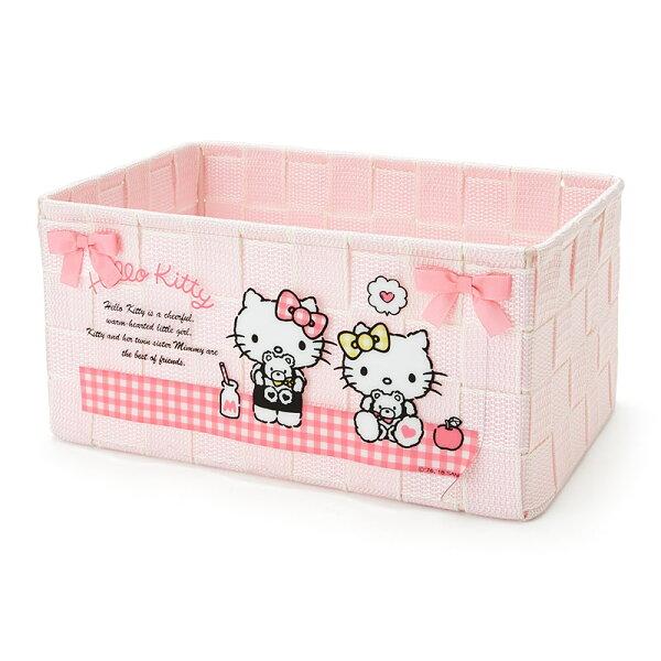 【真愛日本】18042400107編織置物籃M-KT粉ACK三麗鷗凱蒂貓kitty置物籃收納盒