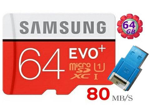 【附R10藍 讀卡機】Samsung 64GB 64G microSDXC【80MB/s】EVO Plus microSD micro SD SDXC UHS UHS-I U1 C10 原廠包裝 三星 手機記憶卡 記憶卡
