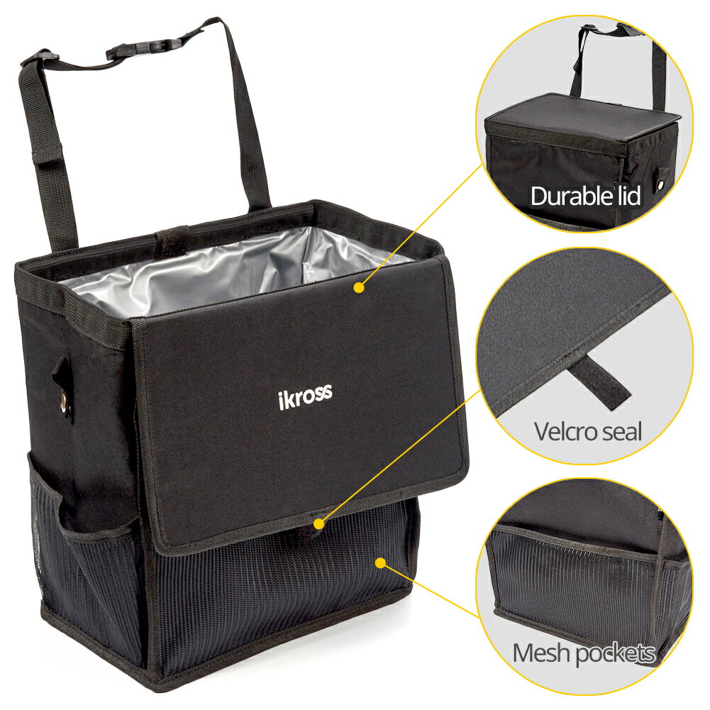 iKross Hanging Car Trash Organizer Bin Bag, Leakproof Auto Garbage Litter Storage Box with Cover Lid, Detachable Backseat Strap and Side Pockets - Black 1