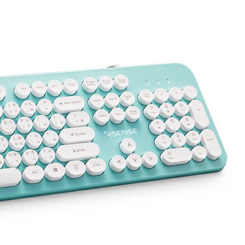 【宏華資訊廣場】Esense逸盛 - 3700 復古圓形標準有線鍵盤(EOK370)