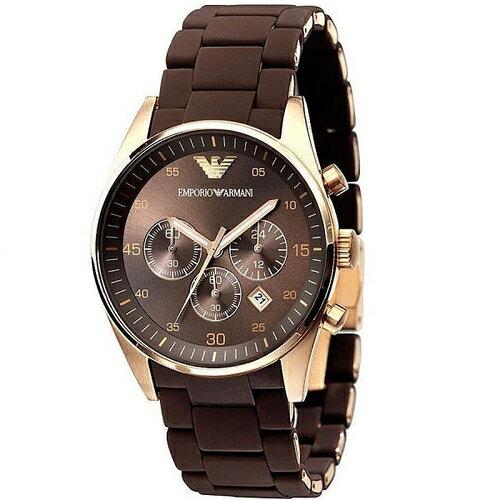 國外代購 ARMANI AR5890 不銹鋼錶殼黑錶面金邊三環石英錶 手錶 男錶