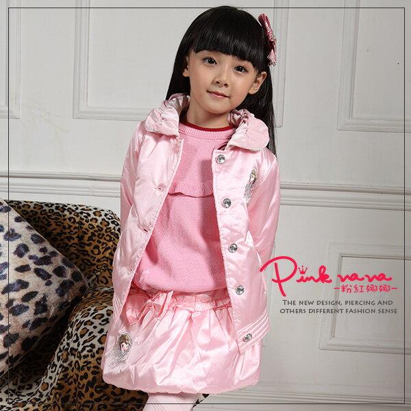 PINKNANA童裝 女童亮面短版外套20105