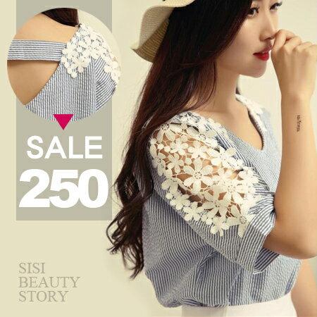 SISI~T6052~甜美小清新 圓領鏤空蕾絲雕花拼接中袖寬鬆顯瘦條紋襯衫上衣