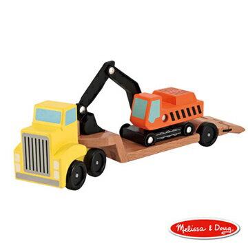 美國瑪莉莎Melissa&Doug木製挖土機拖車【寶貝樂園】