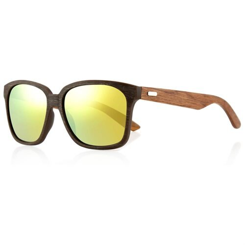 9a6b50af72 Classic Eyewear Vintage Retro Bamboo Wooden Sunglasses Brown Frame with  Gold Lens 0