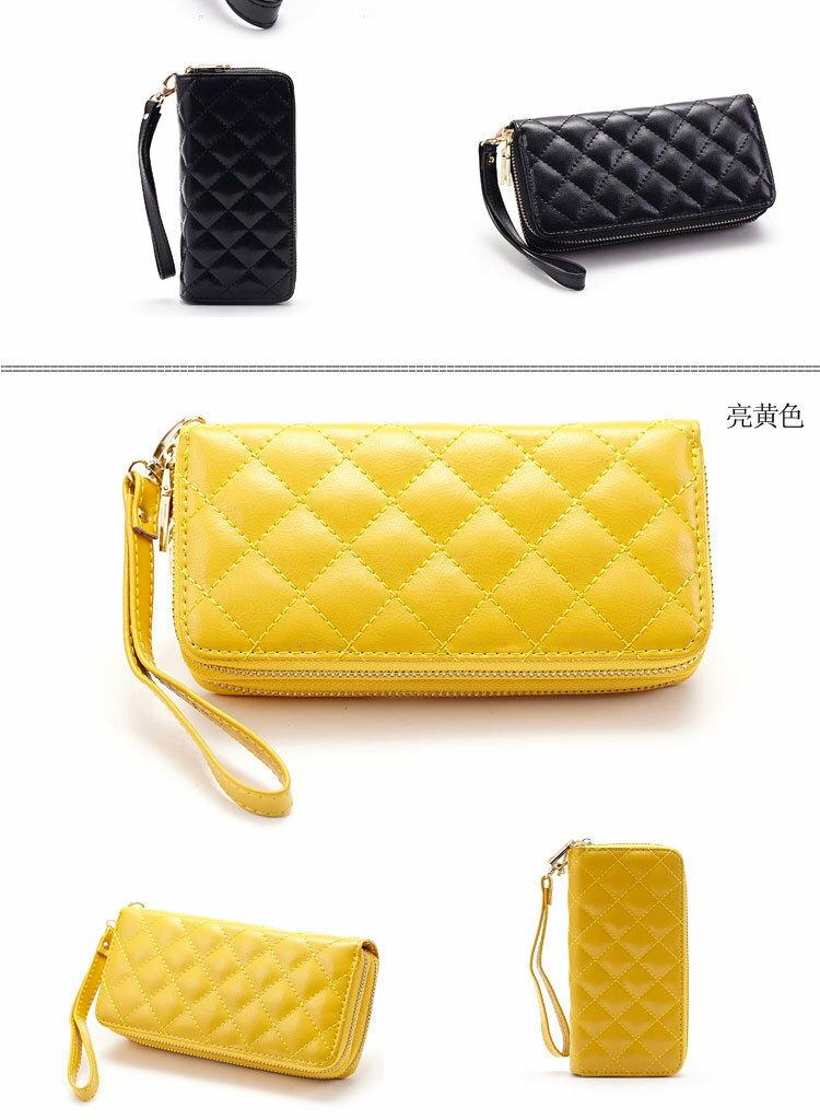長夾 菱格紋 雙層拉鍊 錢包 卡包 手拿包 長夾【CL8343】 BOBI  01 / 04 8