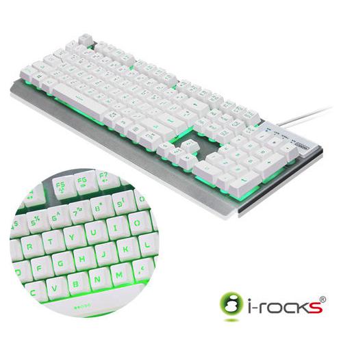 [七彩背光]K62E雙色鍵帽金屬鍵盤-白