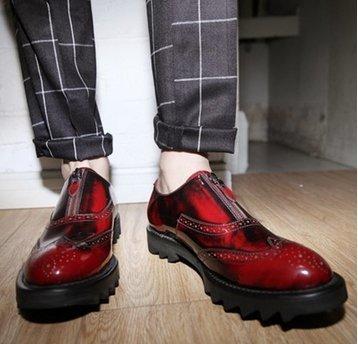 歐洲  厚底 鬆糕馬丁 皮鞋 雕花 真皮款  增高 鞋