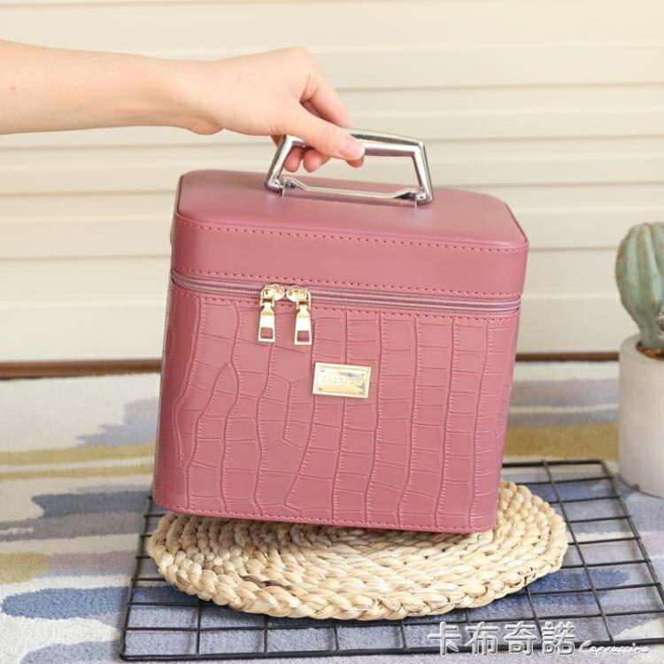 化妝包新款純色大容量多功能手提化妝箱便攜專業化妝品簡約收納盒 摩可美家