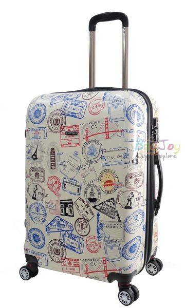 AIRWALK 【禾雅】世界 郵戳 滿版 行李箱 登機箱 20吋 米白色