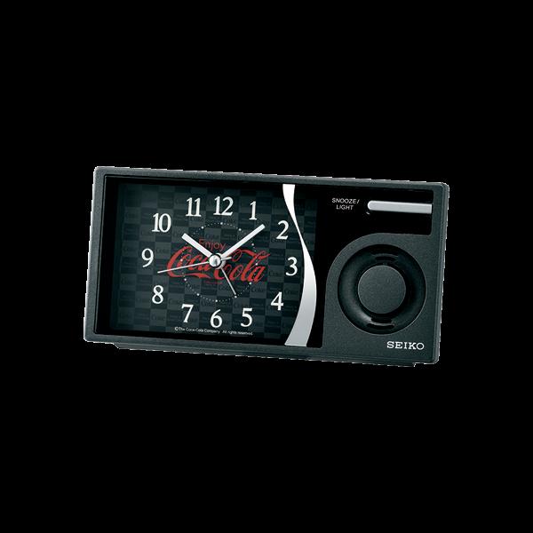 SEIKO CLOCK 可口可樂聯名 滑動式秒針 音樂鬧鐘 QHP901K 黑 / 15x7.5cm 1