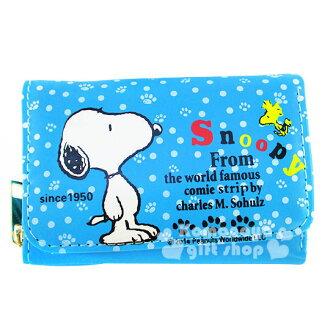 〔小禮堂〕史努比 皮質拉鍊式短夾《藍.側站.點點腳印》可愛又實用